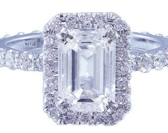 14k white gold emerald cut diamond engagement ring deco 2.50ctw h-vs2 egl usa