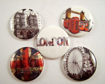 """London Magnets, Londan Pins, British Magnets, London Cabochons, 1"""" Inch  Flat Back Buttons, Pins, or Magnets 12 ct."""