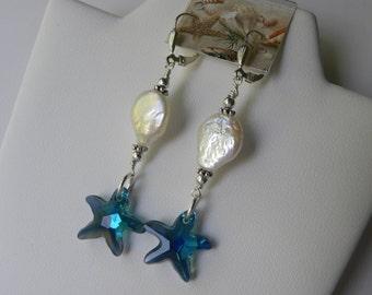Starfish Earrings Blue Swarovski ™ Starfish Coin Pearl Earrings Beach Wedding Mermaid All Sterling Silver