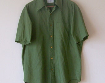 70s Army Green Pennies Town Craft  Button Up Dress Shirt M/L