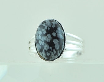 Snowflake Obsidian Gemstone Ring, Casual Everyday Adjustable Silver Ring Size 6, 7, 8, 9, Black and White Fashion Ring, Unique Stone Ring