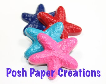 20 starfish crayons - in cello bag tied with ribbon