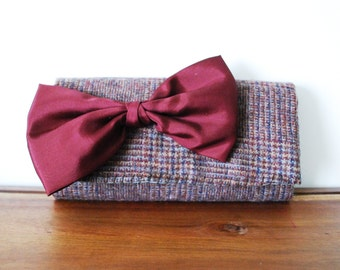 Upcycled Brown and Maroon Plaid Wool Trifold Clutch Wallet with Maroon Bow
