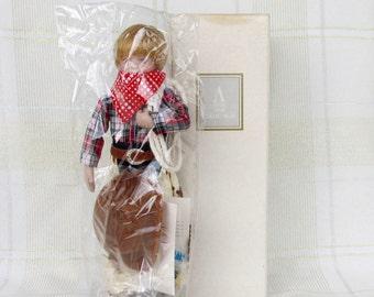"Avon Childhood Dreams Porcelain Doll Collection ""Howdy Partner"" 1993 in Original Box  Cowboy"