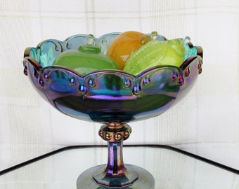 Vintage Indiana Glass Garland-Blue Carnival Compote No. 1009 Iridescent