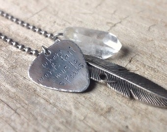 Men's Oxidized Guitar Pick Necklace, Gift Idea for Men, Stainless Steel, Personalized Guitar Pick, Man Gift, Musician Necklace, Christmas