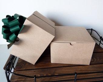 "12 - 6x6x4"" Kraft Gift Boxes"