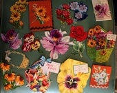 Sweet Vintage Hand-cut Floral Ephemera Die Cut Card Gift Tag Paper (E108)