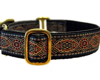 Martingale Collar or Buckle Dog Collar - Crown Jewels Jacquard - 1 Inch