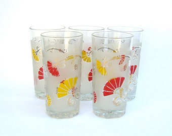 5 Vintage DeValbor Glasses, Hollywood Regency Gold, Retro Glassware Barware, Italian Italy, Fans Flowers, Red Yellow