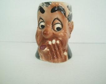 Antique Toby Mug, Duck Handled Large Head Mug, Man Cave Item