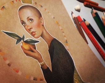 Lady with an orange - Original Illustration