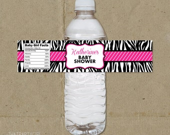 Zebra Baby Shower Birthday Party Water Bottle Labels Favors - Printable DIY