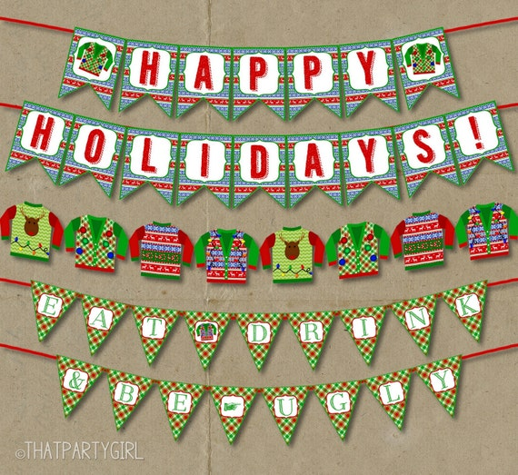 Ugly Sweater Party Banner Instant Download