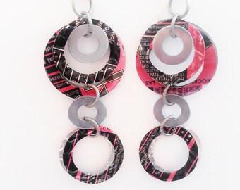 SALE Soda Can Jewelry Hoop Earrings Recycled Upcycled Long Dangle Teen Girl Gift Women Handmade Circle Geometric Pink Black Rockstar Energy