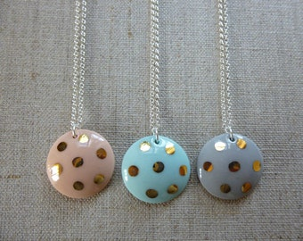 Gold Polka Dot Round Dome Porcelain Necklace 45cm
