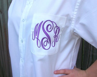 Monogrammed Short Sleeved Button Down shirt, Bride or Bridesmaid, 20 Colors to choose from, Wedding day party cover up,