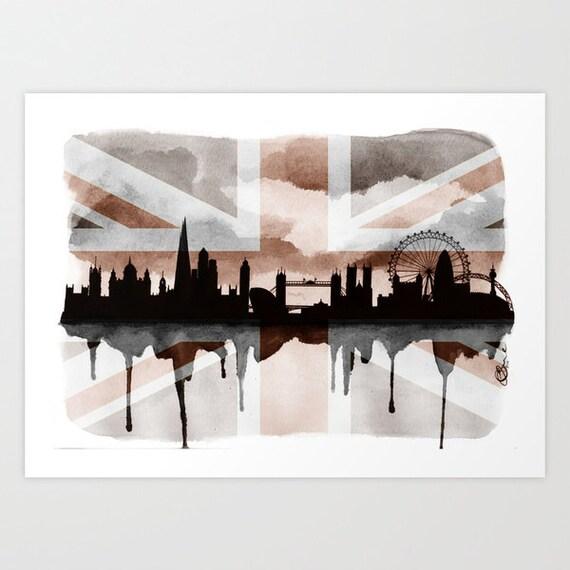 "London Silhouette Skyline 2, Print 5"" x 7"" - Paint the Moment"