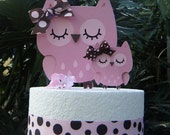 Owl CAKE TOPPER set with Mommy and Baby  in Pinks and Brown