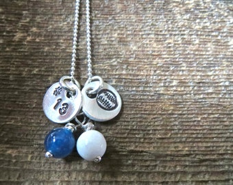 Sports Necklace with team number - Baseball necklace By Rawkette