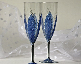 Wedding Flutes, Wedding Glasses, Blue Sapphire, Hand Painted, Set of 2, Sapphir Winter