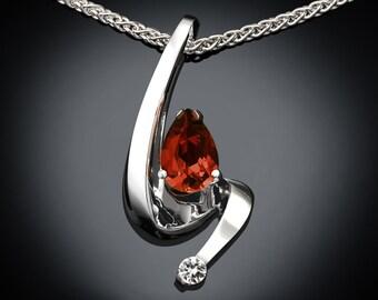 citrine necklace, Madeira citrine, November birthstone, white sapphire, Argentium silver, pear shape, modern jewelry, artisan jewelry - 3380