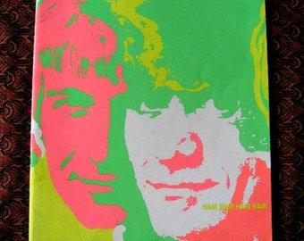 "HAIR Original Program  Hippie Musical Sixties 8 1/2"" x 11"" 1968 Psychedelic 1970"