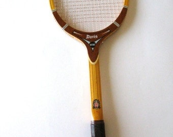 Vintage Davis Hi-Point  Wood Tennis  Racquet Leather Grip Gut 4 L Exc