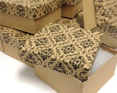 10 Pack - DAMASK Print Kraft Boxes (3.75 x 3.75 x 2 in.)