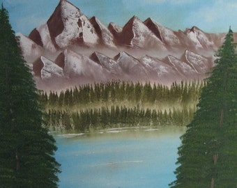 original signed oil mountain scene canvas panel 16 inches by 20 inches unframed cabin decor