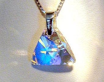 Genuine Swarovski Xillion Crystal Pendant with Sterling Silver Chain
