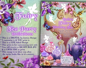 Fairy Tea Party Invitation, Birthday Tea Party, Tea Party, Garden Tea Party, Party Invitations, Tea Party