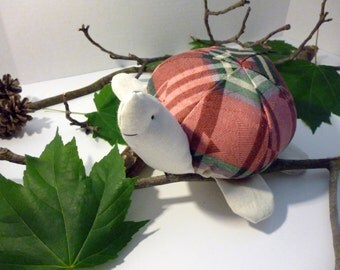Stanford the Turtle - 9 Inch Plush Turtle Made From Salvaged and Re-Purposed Fabrics