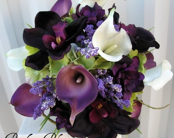 6 piece Wedding bouquet set real touch purple white calla lily bridal bouquets