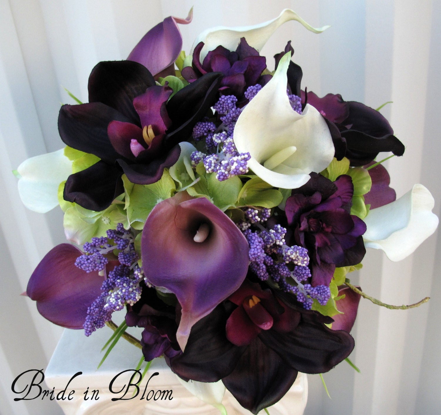 Lily Flower Wedding Bouquet: 6 Piece Wedding Bouquet Set Real Touch Purple White Calla Lily