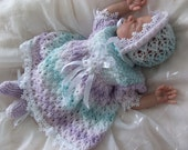 "Knitting Pattern PDF for prem/newborn baby dress outfit, will fit 18"" reborn"