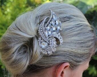 Crystal Bridal Hair Comb, Bridal Hair Accessory, Statement Crystal Wedding Hair Comb, Bridal Accessory, AMANDA