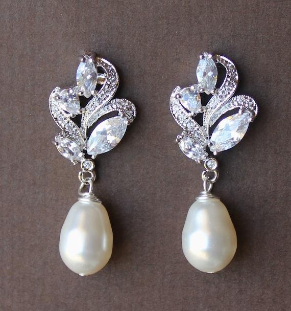 Crystal Bridal Earrings, Crystal and Pearl Drop Earrings, Bridal Jewelry, Wedding Jewelry, FLEUR