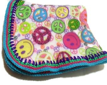 Peace Sign Blanket, Smiley Face Throw, Fleece Throw Blanket, Travel Blanket, Dorm Decor, College Dorm Girl, Crochet Edging, Girls Bedding