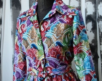 Paisley 50's Dress Mod Howard Wolf Multicolor Paisley Full Skirt Dress with Tie Belt Size Small Psychedelic