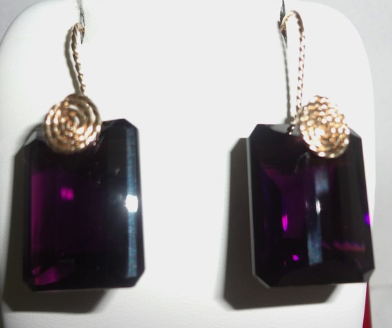 35 cts Emerald Mix cut Deep Rich Purple Amethyst gemstones,14kt yellow gold Pierced Earrings