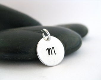 Hand Stamped Letter Charm Sterling Silver Personalized Charm