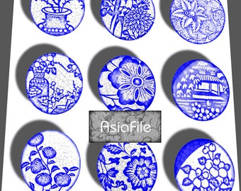 Printable Digital Art Instant Download Asian  1 Inch Circles  Indigo Blue & White  Pendants Scrapbooking CS 324 CIRC