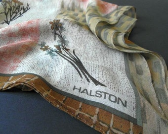 Halston Vintage Scarf Desgnerer 70s Vintage Accessories Silk Hand Rolled SALE