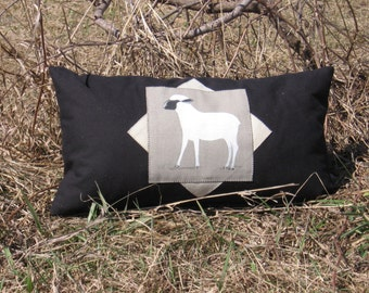 "Decorative Boudoir Pillow Lamb Rectangular 18"" x 10"" Country home decor accent Black Gray White Sheep Animal Farm Eclectic Nature"
