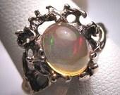 Antique Moonstone Opal Ring Vintage Retro Modernist 50s