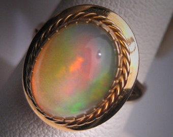 Antique Australian Opal Ring Wedding Retro Art Deco 14K