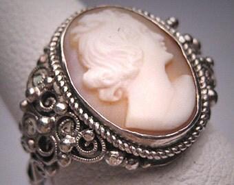 Antique Cameo Ring Art Deco Victorian Filigree c.1900