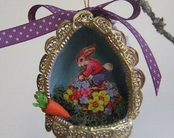 OOAK Easter Egg Diorama Ornament - Vintage Style Papier Mache - Panorama Shadowbox - Sugar Egg Keepsake Decor - Victorian