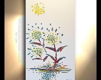 ORIGINAL Oil Painting Abstract Flower Tree Yellow Blue Green White Metallic Landscape Artwork Textured 48x24 Modern art by OTO